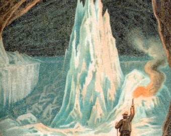 Antique Print of Ice Caves - 1894 Vintage Print - Spelunking - Gift for Him