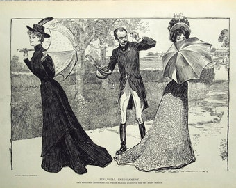 Gibson Girl - Decisions, Decisions  - Humorous 1907 Antique Charles Dana Gibson Print