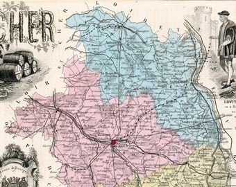 Antique Map of Cher, France - 1883 Illustrated Map - Hand-Coloured - Vintage Map - Home Decor