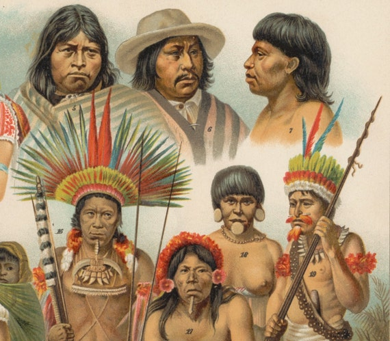 Antique Print of the Peoples of the Americas - 1894 German Chromolithograph