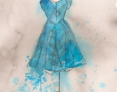 CLEARANCE Original - Watercolor and Charcoal Painting - Teal Striped Dress - 11x14