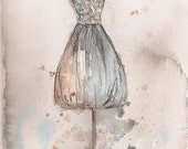 Print - Watercolor and Charcoal Painting - Champagne Lace Dress