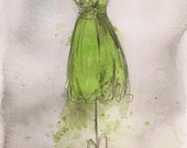 Print - Watercolor and Charcoal Painting - Dress Painting - Isabelle Dress - 8x10 - Lauren Maurer Artworks on Etsy