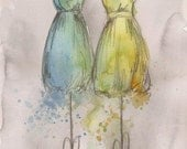 Print - Watercolor and Charcoal Painting - Dress Painting - Amelia and Sam - Fashion Illustration