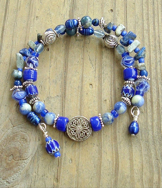 Boho Blues, Blue and Silver Layered Bracelet Bohemian Colorful Artisan Jewelry