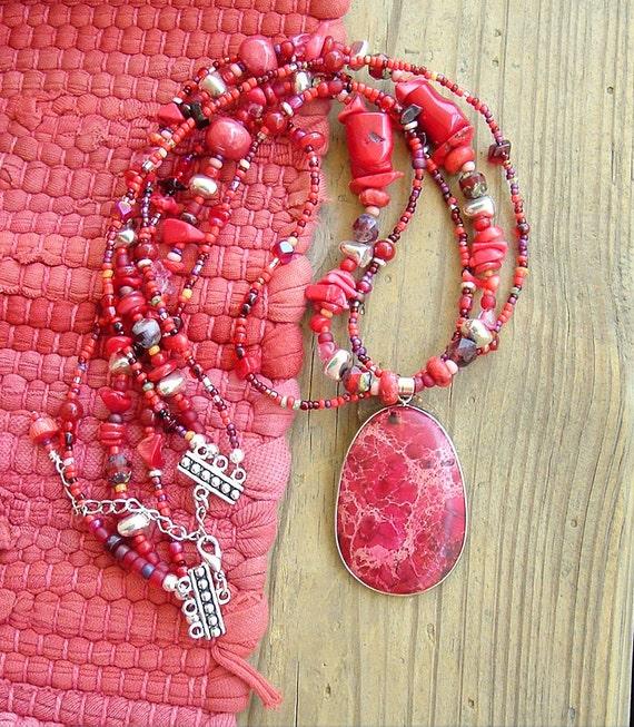 BOHO Chunky Southwest Necklace, Red Stone Necklace, Bohemian Jewelry