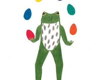 Easter Egg Juggler Frog Card
