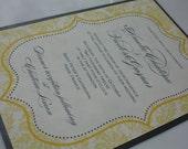 Halcyon Damask Eco-Friendly Wedding Invitation Suite Sample