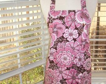 Women's Full Apron, Pink Chocolates, Pocket Apron, Kitchen Apron, Bib Apron