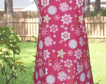 Womens Full Apron w/ 2 Pockets - Fun Fuschia Flowers - Hot Pink Lime Green