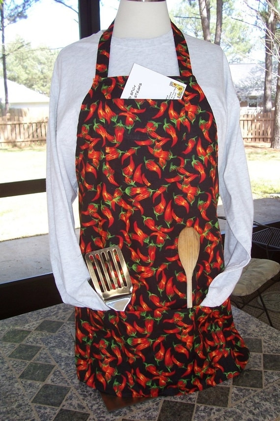 Man BBQ Apron Spicy Red Chili Peppers Apron by ApronsandMore