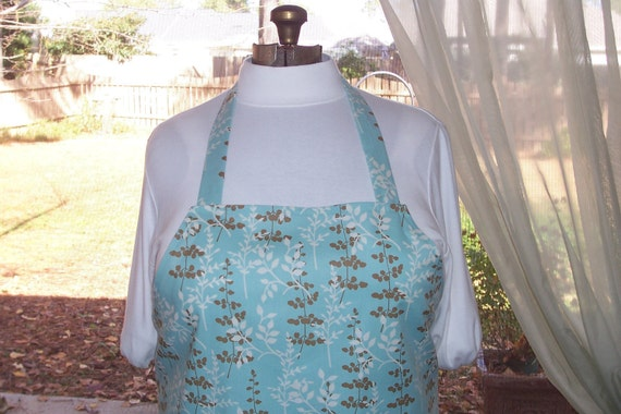 SALE Plus Size Apron w/ 2 Pockets - Blue Leaves - Blue Brown and Cream