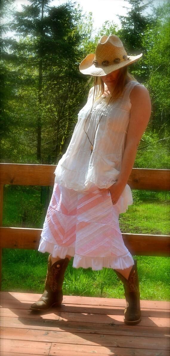 Sample Sale Ruffles & Crochet Lace Romantic Skirt Peaches N Cream Pink White Skirt w Pockets, Elastic Waist Slip Lining Underskirt Petticoat