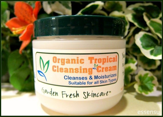 Organic Tropical Gentle Moisturizing Cleansing Cream | Melts Away Makeup | All Skin Types | Vitamin Rich | All Natural Preservative - 4 oz