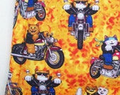 Cat Bed - Catnip Filled -  Biker Cats - Orange Cushion with Flames - Cats on Motorcycles - Home and Living Pets