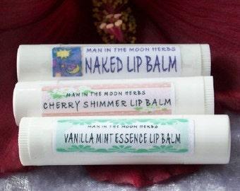 Lip Balm - 3 Tubes - Naked Vanilla Mint Cherry