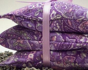Lavender Sachets - Amethyst Flowers - Purple Paisley French Lavendar Aromatherapy Mini Pillows - Home and Living Decor