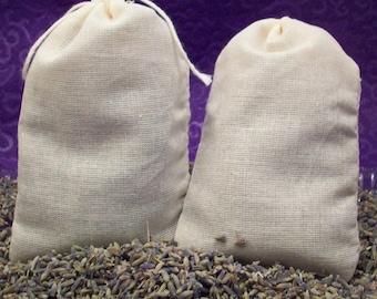Lavender Sachets - French Lavendar Buds in Muslin - Moth Repellent Drawer Freshener - Set of 2 Laundry , Dryer, Suitcase Sachets