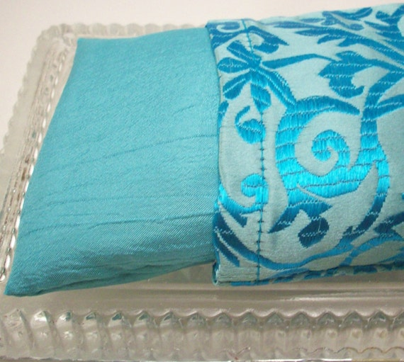 Eye Pillow Unscented or with  Lavender Flax Seed Turquoise Blue Brocade - Yoga Eye Pillow Aromatherapy Bath and Beauty