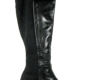 Tall Stretch and  Leather Kitten Heel Boots - SIze 5.5