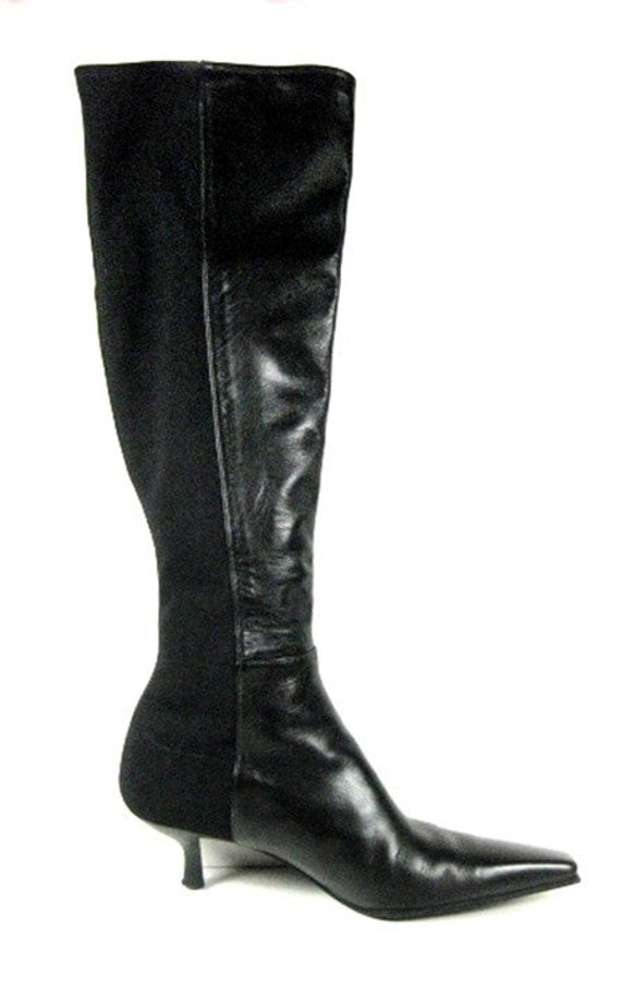 stretch and leather kitten heel boots size 5 5 by