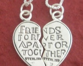 Sterling Silver Best Friends Necklaces each has a Sterling Silver Chain BFF