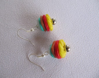 Buttons earrings, bright colors, upcycled buttons, colorful earrings, gift for her