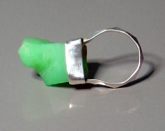 Clunky Chrysoprase Ring Bezel Set Rough