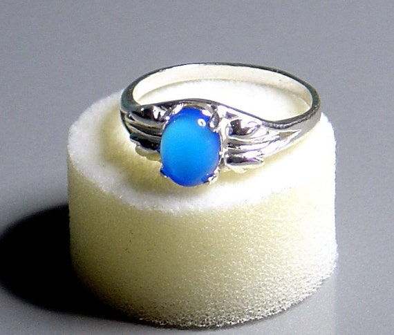 Blue Agate & Sterlng Silver Ring