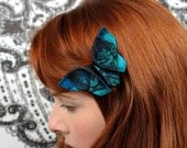 Butterfly Hair Clip Peacock Fascinator Silk Origami Butterfly Black and Peacock Teal Blue Silks Gift LARGE SIZE shown