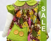 Ready To Ship , Baby Dress , Infant Smock Dress , Infant Tunic , Baby Jumper, Owl Chocolate Forest , Size: XS