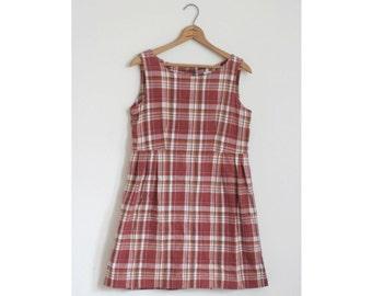 Red Plaid Valentine Dress High Waist Short Cotton Medium Vintage 80s Grunge