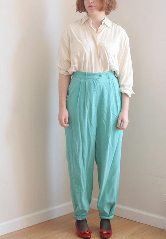 Teal Blue High Waist Silk Pants Vintage 80s Slim