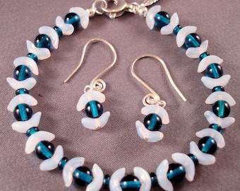 Ocean Jewelry - Blue Jewelry - White Jewelry - Blue Bracelet - White Bracelet - Blue Earrings - White Earrings - Dangle Earrings - Silver