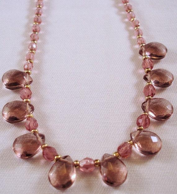 Glass Beaded Necklace - Purple Necklace - Gold Filled Necklace - Briolette Necklace - February Birthstone - Adjustable Necklace - Lavender