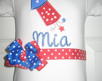 Boutique 4th of July monogrammed one piece
