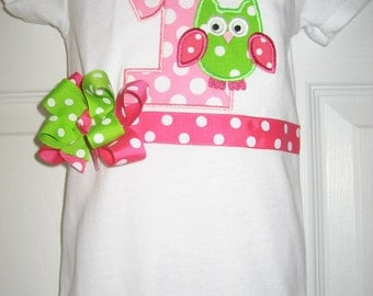 Birthday pink and green owl bodysuit with bow
