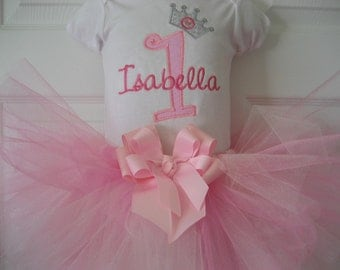 Baby girl princess Birthday tutu set, First Birthday tutu set, Princess outfit, cake smash, monogrammed