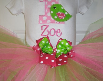 Baby Girl Bird Birthday tutu set, First Birthday tutu set, Pink and green, cake smash outfit, monogramm