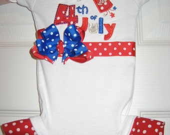 Boutique First 4th of July one piece with ruffles and bow