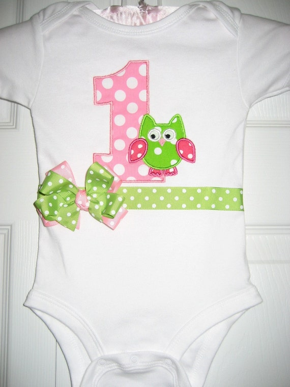 Boutique Owl pink and lime green First birthday bodysuit