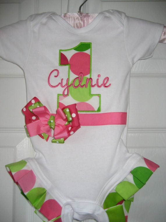 First birthday monogrammed one piece
