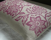 orchid passionflower hand printed on warm gray linen home decor pillow