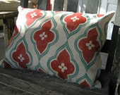 Russet and teal blue green ogee hand block printed on warm gray linen moroccan home decor decorative pillow case