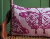 Large Butterfly hand printed linen pillow 10x18