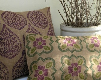 Medieval Rose hand block printed historical botanical rustic home decor decorative linen pillow case