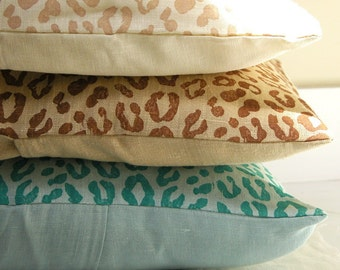 Beach Leopard hand block printed linen decorative home decor colorful pillow case your choice of size and color