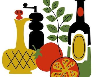 Food and Wine fish lemon olive basil herb cheese modern retro colorful kitchen decor original art prints set of four 8 x 10