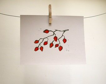 Rose Hips Block Print, with hand painted details, on recycled card stock