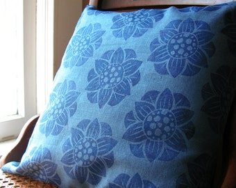 Ultramarine blue water lily hand block printed floral botanical linen pillow colorful home decor decorative cover